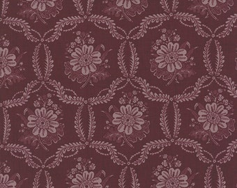 Ville Fleurie Fabric - Half Yard - Moda Fabric Honfleur Purple Bordeaux Large Scale Print French General Fabric Quilt Fabric 13763 15