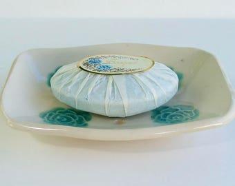 Ceramic Soap Dish,Footed, Rose