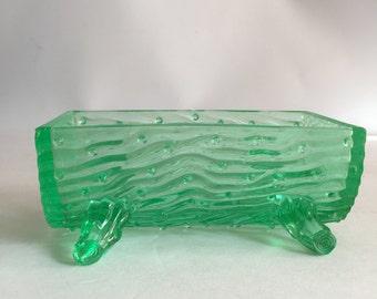 Northwoods Uranium Glass Tree Trunk Trough Spooner Sugar Bowl Depression Glass Mint Green Faux Bois