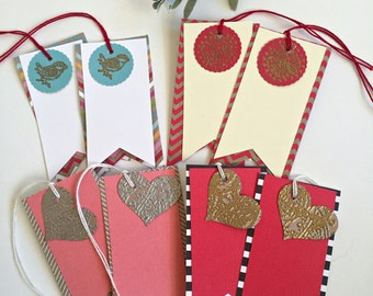 Gold, Silver embossed paper  Heart and bird gift tags, Heart, Bird  gift tag set, red, pink blank hang tags-Quantity 8 (item #10)