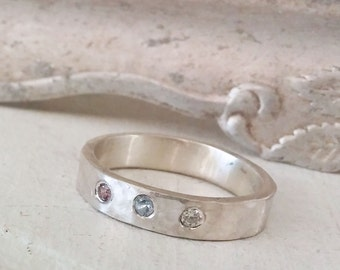 Mothers Ring, Hammered, Sterling Silver Birthstone Ring for Mothers Day