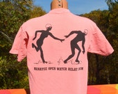 vintage 90s t-shirt neon MANATEE open water swim relay race tee Large Medium wtf