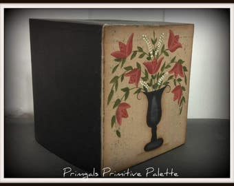 Primitive Folk Art Paper Mache Tissue Box Holder Bath Home Decor