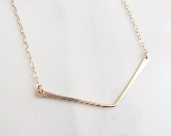 Gold Chevron Necklace, Gold V Necklace, Gold Bar Necklace