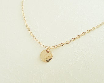 Tiny gold disc necklace, 14k gold filled disc necklace, gold disc choker necklace