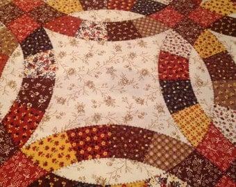 """Vintage 1970s Faux Patchwork Print Cotton Piece - 42"""" x 48"""" - Fabric Yardage / Fabric Yardage / Cotton Fabric / 1970s Fabric / 70s"""