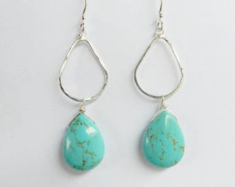 Sterling silver hammered  teardrop earrings with turquoise teardrop beads , blue turquoise earrings