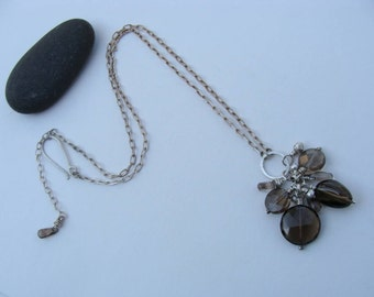 Smokey Quarts Sterling Silver Leather Handcrafted Necklace