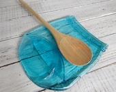 Melted LARGE Quart blue Mason Jar, Spoon Rest, Soap Dish, Candle Holder, Vintage Style- Cheese Tray- slumped mason jar-recycled - quart jar