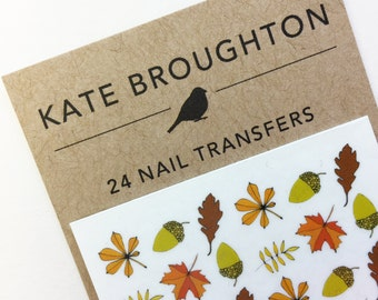 autumn nail transfers - illustrated leaf nail art stickers - fall oak leaves , acorns nail decals