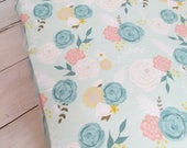 Mint Floral Crib Sheet and Changing Pad Cover Set