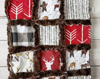 Deer Quilt - Deer Bedding - Rustic Baby Bedding - Rustic Quilt - Little Man Quilt - Red and Brown Bedding - Crib Bedding for Baby Boy