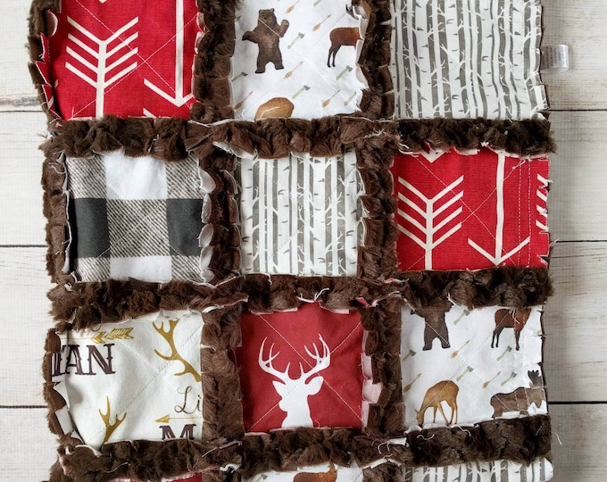 Featured listing image: Deer Quilt - Deer Bedding - Rustic Baby Bedding - Rustic Quilt - Little Man Quilt - Red and Brown Bedding - Crib Bedding for Baby Boy