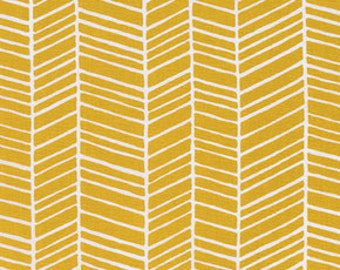 HALF YARD - Joel Dewberry Fabric, True Colors Collection, Herringbone in Straw Yellow, cotton quilting fabric -  SALE