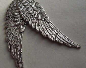 Lead Free pewter Angel Wings charms (2)  4mmx12mm