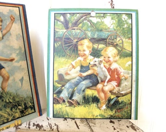 Vintage Grocery Cards, Set or Lot, Vintage Grocery Chart, Nursery Wall Art, Vintage Chicago, Antique Store Advertising, Large Vintage Card