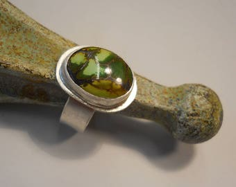 Green Picture Jasper Ring, Sterling Silver Ring, Silversmith Gemstone Ring, Silver Ring Size 6