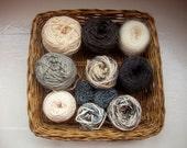 DESTASH - big grab bag assorted yarn 162g/5.7 ounces+ grey, black, white neutrals
