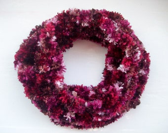 Vegan neck warmer, knitted cosy cowl, warm collar, shades of burgundy, red and pink, soft textured snood scarf