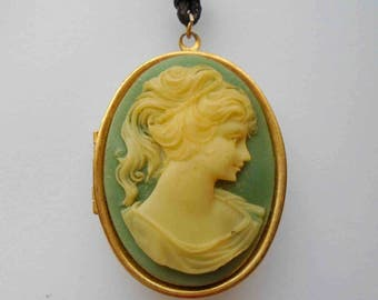 Vintage Eighties Blue and Cream Resin Cameo Locket on Sturdy Black Long Cord / Classic Vintage Jewelry