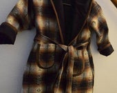 Plaid Hooded  Reversible Robe in Size 4T for Boy or Girl