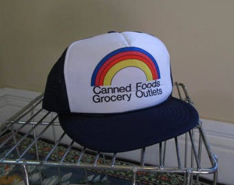 Canned Foods Vintage Trucker hat Rainbow 80s baseball Cap Rainbow Grocery Outlet blue and white foam vintage hat 80s Adjustable snapback Hat