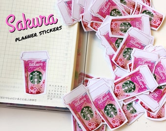Sakura Spring coffee Starbucks planner Stickers (set of 10) illustration, watercolor drawing, planner decoration, hobonichi