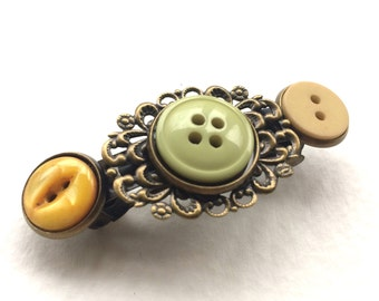 Yellow and Chartreuse Vintage Button Barrette