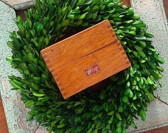 Think Outside the Box... Vintage Weis Wooden Dovetail Box Office Decor Recipe Holder Index Card File Box