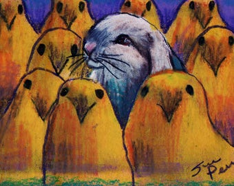 original art  aceo drawing easter bunny rabbit hanging peeps chicks