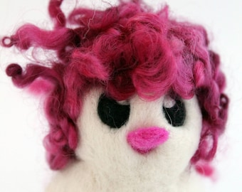 Cranberry Pink Hairy Bird Needle Felted White One of A Kind Bird Frenchie