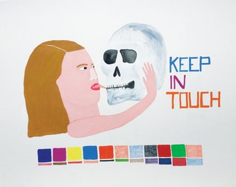 Original Painting, skull, Kiss, Humor, Quirky,  Keep in Touch- painting on 300lb watercolor paper