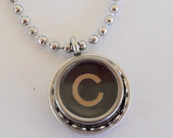 SALE Initial Jewelry - Typewriter Key Necklace - Vintage - All Letters Available - Recycled Jewelry