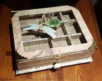 Box, Jewelry, Keepsake box, dragonfly, handmade, glasstop box, one drawer box, desk box,