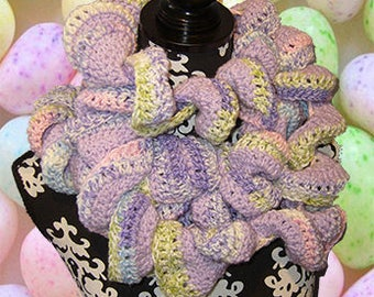 Crochet Long Twisted Curly/Ruffle Scarf, Fashion Boa, Textured Bufanda, Springtime Twist