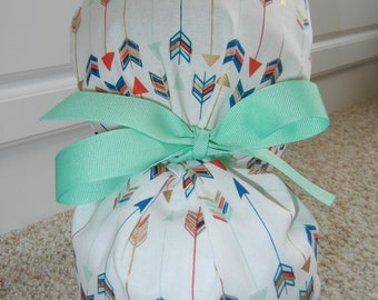 Fold Up Ponytail Scrub Hat with METALLIC Arrows CHOOSE RIBBON Color