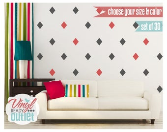 Diamond Vinyl Wall Decals - Set of 30 - Pick your Size & Color!