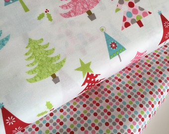 SALE fabric, Christmas fabric, Snowman fabric bundle, Holiday fabric, Christmas Tree, Fabric by the Yard- Fabric Bundle of 2, Choose The Cut