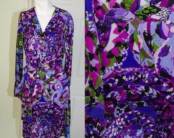 Vintage 1960's Designer Ken Scott Ban-Lon Purple Snake  Print Dress