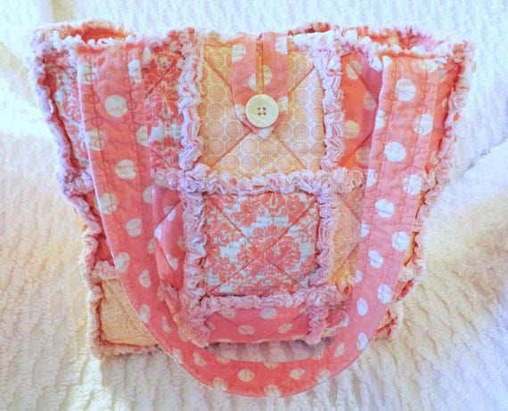 Rag Quilt Tote - Pink Damask and Polka Dot  - Dusty Pink - Melon Pink - Summer Tote