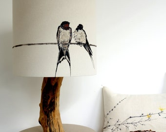 Swallow Lampshade - Birds on a Line - Swallow Light - Baby Swallows - Bird Lampshade - Country decor - Gift for bird watchers - Bird decor