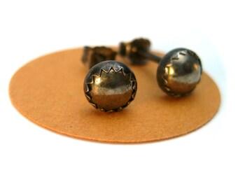 Mens Earrings Studs Black and Pyrite, 5mm Stud Earrings for Him, Earrings Men, Mens Gift, Pierced Earrings Studs