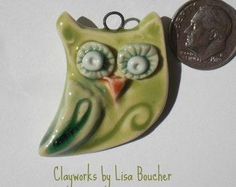 Porcelain Green Owl Pendant