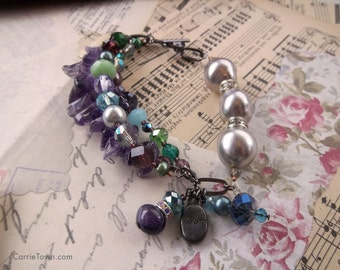 One-of-a-kind amethyst and freshwater pearl beaded bracelet