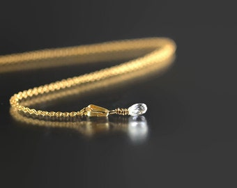 Diamond Briolette Necklace - 14k Gold - Diamond Briolette - White Diamond