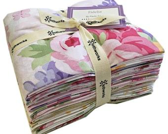 SALE 30% Off Clothworks FIDELIA Fat Quarter Bundle 18 Precut Cotton Fabric Quilting FQs Paula Arndt