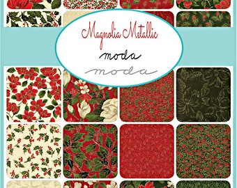 "SQ30 Moda MAGNOLIA METALLICS Precut 5"" Charm Pack Fabric Quilting Cotton Squares 33240PPM"