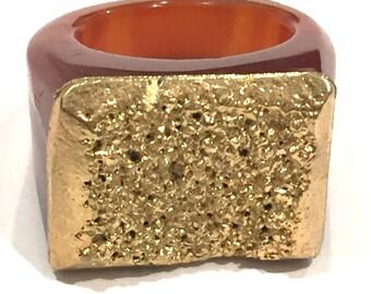 SALE Dara Ettinger JILL Druzy Ring in Rust/Gold sz 9