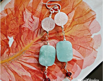sterling silver earrings - Druzy Quartz  Amazonite and Faceted Garnet Gemstone wire wrapped gems LONG