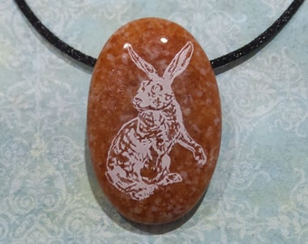 Rabbit Necklace, Brown Glass Pendant, Bunny Pendant, White Rabbit Pendant, Oval Glass Pendant, Fused Glass Jewelry - Jack Rabbit -6
